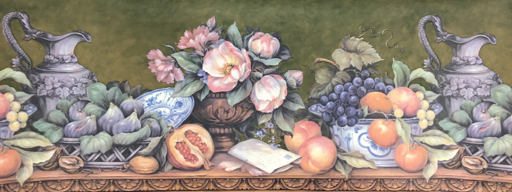 Tuscan Fruit Urns Flowers Kitchen Wallpaper Border