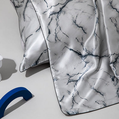 19 Momme Marble Silk Pillowcase | Hidden Zipper Closure