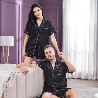 19 Momme Silk Couple Short Pajama Sets | Black