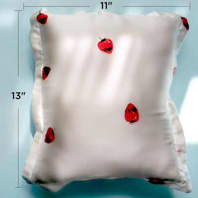19mm Strawberry Silk Throw Pillow | 2 Colors