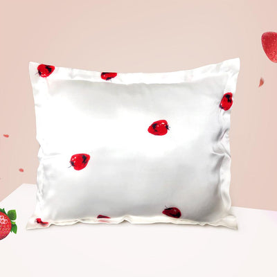 19mm Strawberry Silk Throw Pillow | Office Nap Pillow Lunch Break Pillow | 2 Colors