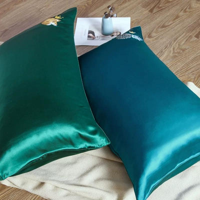 25 Momme Silk Embroidered Stylish Pillowcase Queen Size