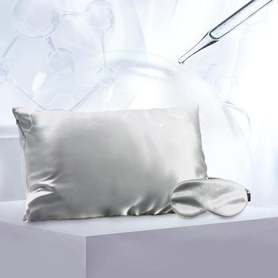 Aqua Series Silk Pillowcase w Eye Mask Gift Travel Set | Hyaluronic Acid | 4 Colors