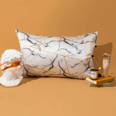 19 Momme Print Marble Pillowcase with Hidden Zipper