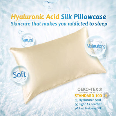Aqua Series Silk Pillowcase | Hyaluronic acid | Hidden Zipper Closure | 5 Colors