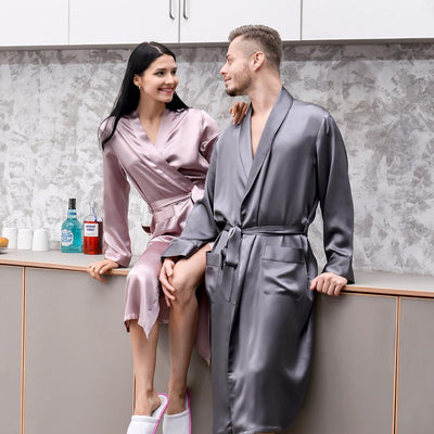 19 Momme Silk Couple Long  Bathrobe Sets | Pink+Grey