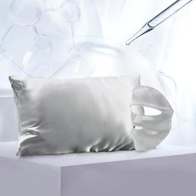 Aqua Series Silk Pillowcase w Face Beauty Mask Gift Travel Set | Hyaluronic Acid | 4 Colors