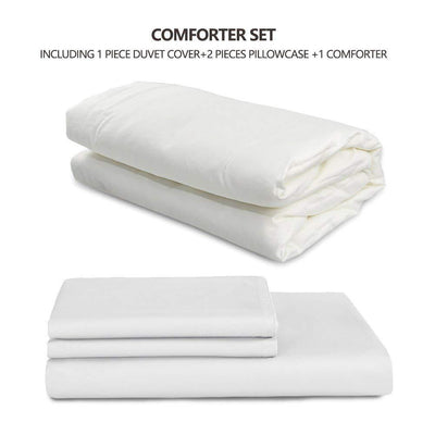 4 pieces Silk Comforter Set with 400TC Removable Cotton Sateen Duvet Cover | Spring & Fall | 6 Colors