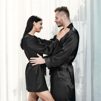 19 Momme Silk Couple Short Bathrobe Sets | Black