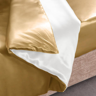 High end 19 Momme | Silk Contrast Color Duvet Cover Set w Pillowcase(3Pcs) | 17 Combinations