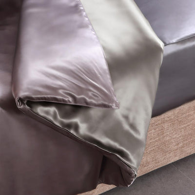 High end 19 Momme | Silk Contrast Color Duvet Cover Set w Pillowcase(3Pcs) | 16 Combinations