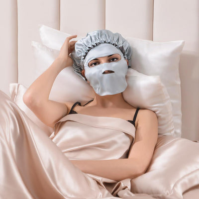 Aqua Series Double Silk Night Sleep Cap w Face Mask Gift Travel Set | Hyaluronic Acid| 4 Colors