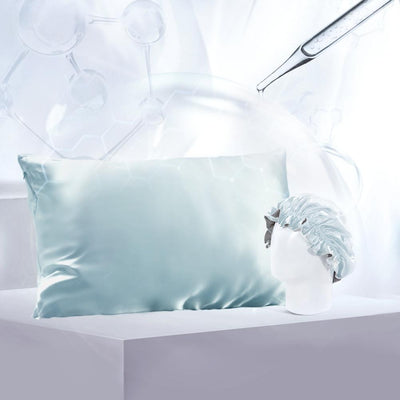 Aqua Series Silk Pillowcase w Sleep Cap Gift Travel Set | Hyaluronic Acid | 4 Colors