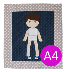 A4 Europe/Australia Digital Pattern PDF Download - Paper Doll Blanket Quilt Pattern - Boy
