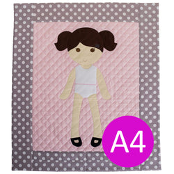 A4 Europe/Australia Digital Pattern PDF Download - Paper Doll Blanket Quilt Pattern - Girl
