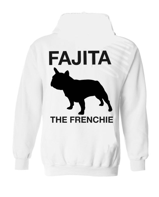Fajita the Frenchie white hoodie