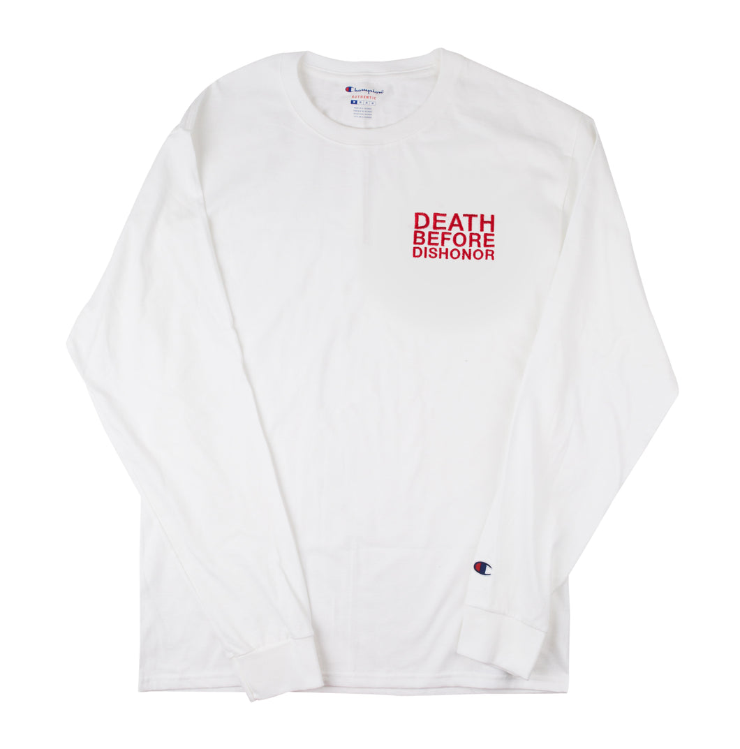 DBD classic red logo embroidered on White Champion Longsleeve T 1/1 sz.XL
