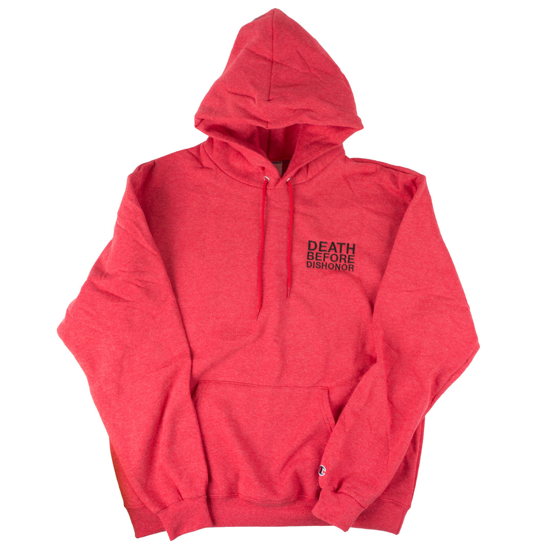 DBD Hoodie Classic Logo Embroidered on Red Champion