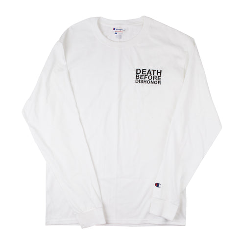 DBD classic black logo embroidered on White Champion Longsleeve