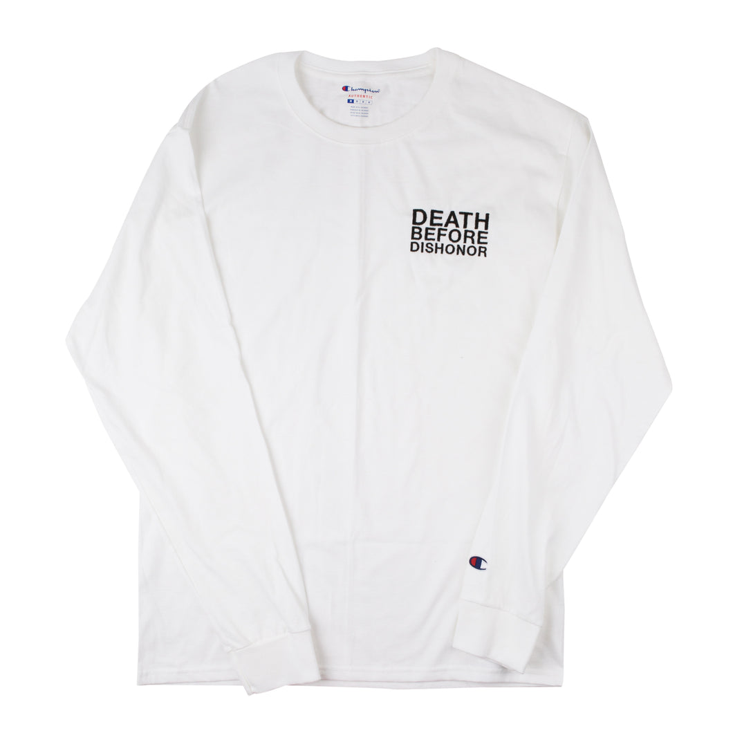 DBD classic black logo embroidered on White Champion Longsleeve 1/1 sz.MEDIUM