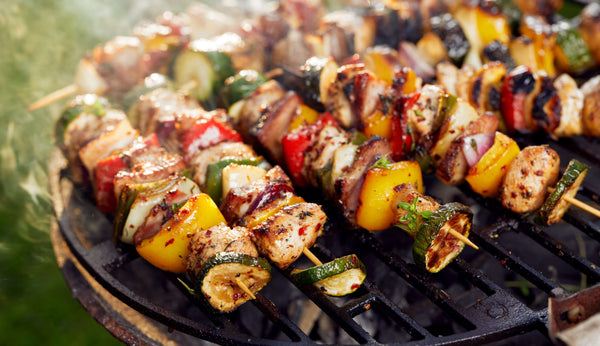 Meat skewers on a BBQ