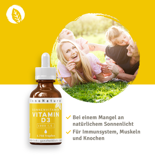 InnoNature Vitamin D3 Tropfen (1750 Tropfen) 1.000 I.E. - 50ml