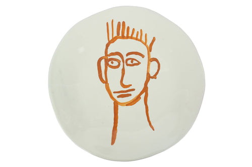 Apulian Face Dinner Plate 28cm, Orange
