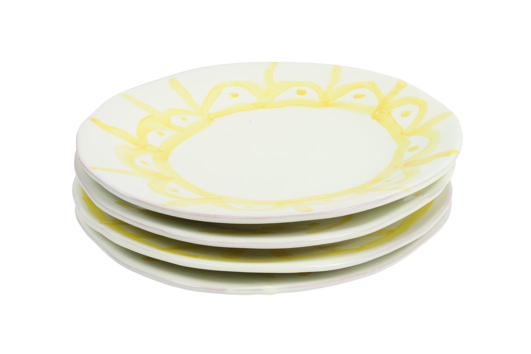 Apulian Entrée Plate, Yellow set of 4