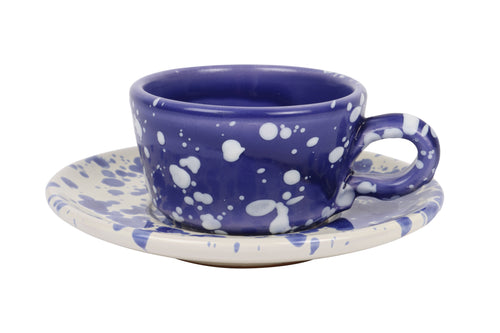 Apulian espresso cup and saucer, white and blue splatter
