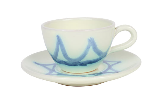 Tea cup and saucer, blue