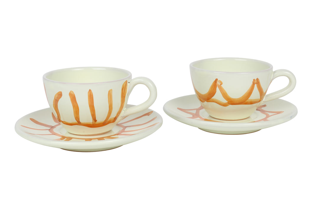 Apulian Tea cup and saucer, orange set of 2