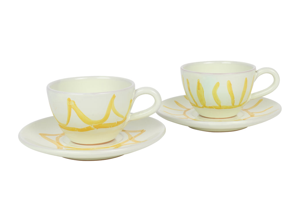Apulian Tea cup and saucer, yellow set of 2