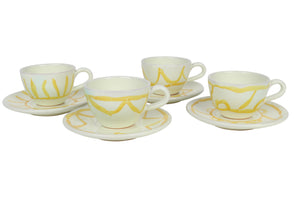 Apulian Tea cup and saucer, yellow set of 4
