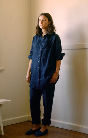 Aloe Vera-Infused Italian Linen Shirt, Navy