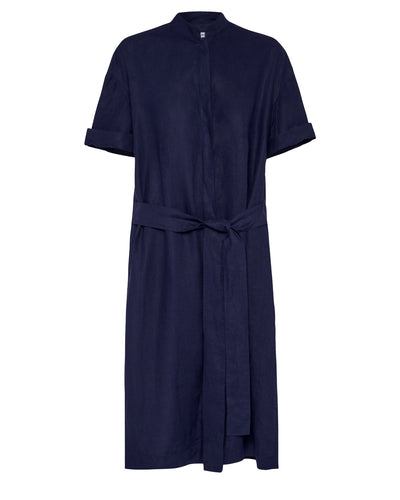 Aloe Vera-Infused Italian Linen Summer Shirt Dress, Navy