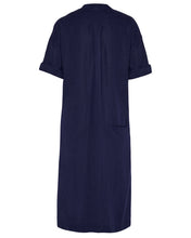 Load image into Gallery viewer, Aloe Vera-Infused Italian Linen Summer Shirt Dress, Navy