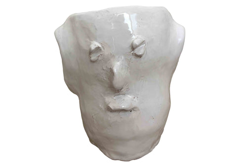 Apulian Ceramic Medium Head Vase, White - Enzo