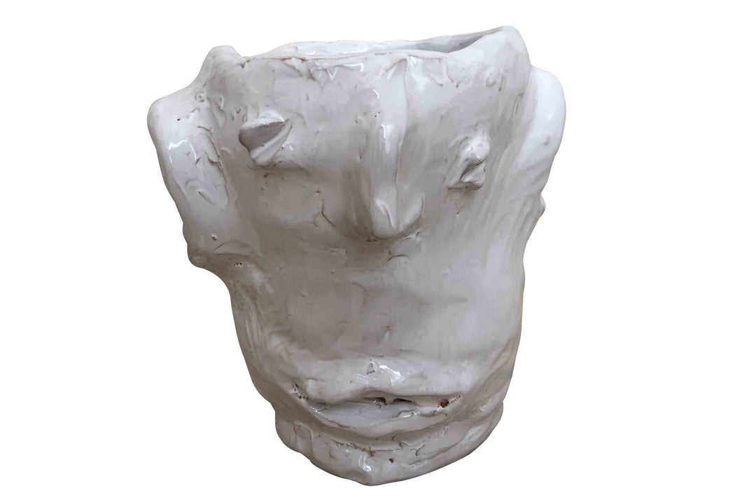 Apulian Ceramic Medium Head Vase, White - Heleena