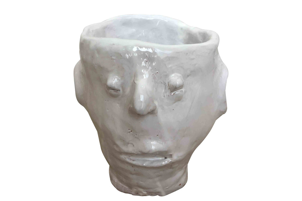 Apulian Ceramic Medium Face Vase, White - Isabella