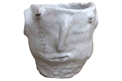 Apulian Ceramic Large Head Vase, White - Jovani