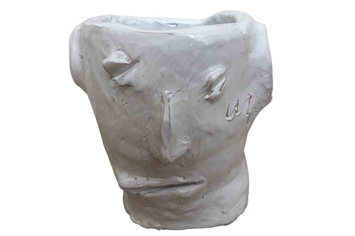 Apulian Ceramic Large Head Vase, White - Luca