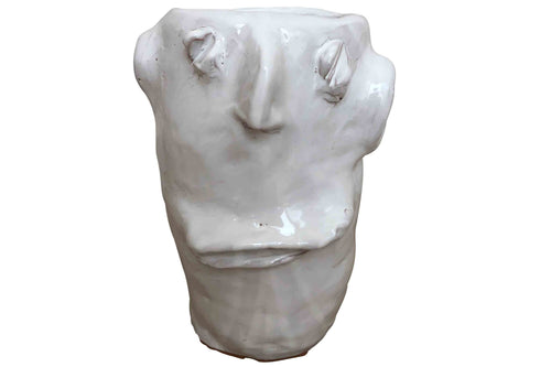 Apulian Ceramic Large Head Vase, White - Nino