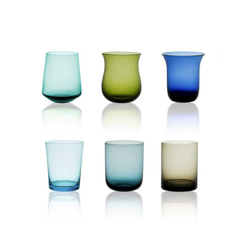Water tumblers, set of 6 by Bitossi, blue/green