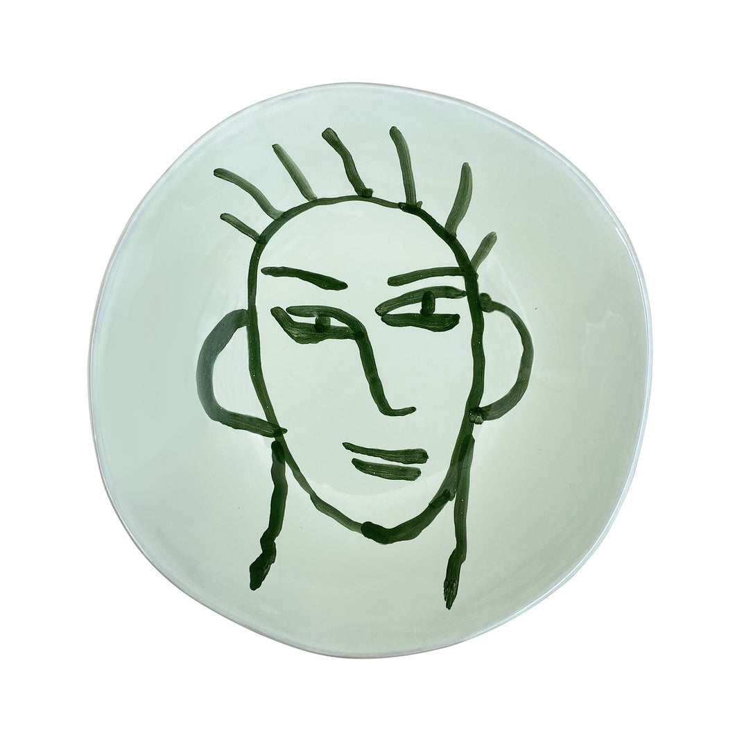 Ceramic Apulian Face Bowl, green