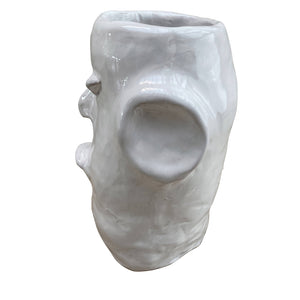 Apulian Ceramic Head Vase, White - Rosa