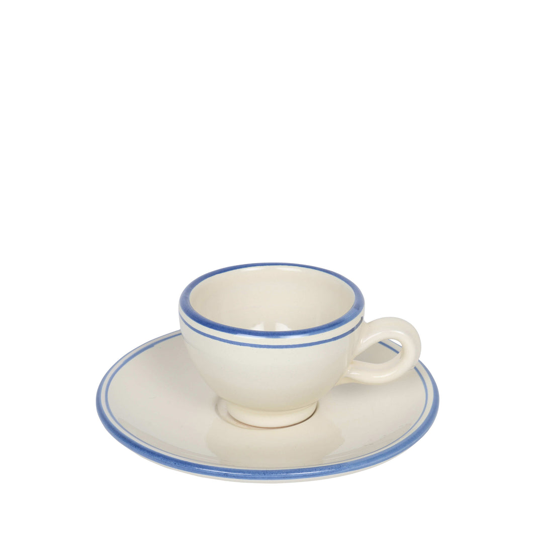Apulian espresso cup and saucer, ivory and blue