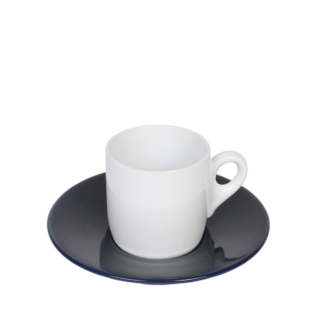 Classic Apulian white espresso cup and navy saucer