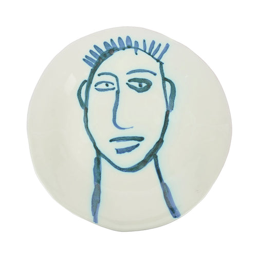 Apulian Face Dinner Plate 28cm, Blue