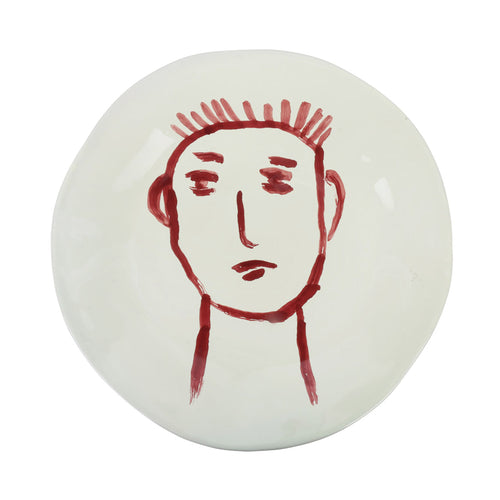 Apulian Face Dinner Plate 28cm, Red
