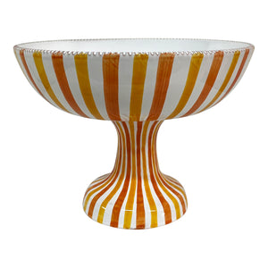 Large ceramic fruit bowl stand - yellow and orange stripe, Puglia, Italy
